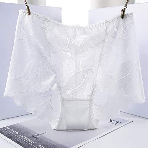 MYZQ (3 Piezas por Paquete) Ropa Interior para Mujeres Bikini Braguitas [90-200 kg] Braguitas de Mujer sin Costuras de Gran tamaño, Bragas de Encaje, Bragas de Mujer Femeninas-Blanco_Metro