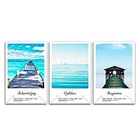 ウォールアート、海の木の板道路ログキャビン風景キャンバス絵画北欧のポスターとプリント壁の写真フレームなし