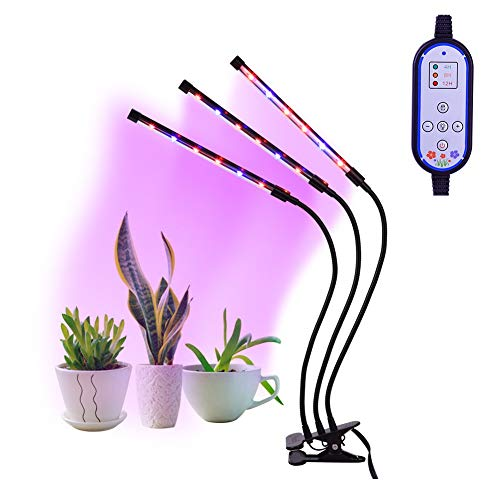 Pflanzenlampe,Haofy LED Grow Light 36W Pflanzenlicht Wachstum Dimmbar 12 Rote,6 Blaue 8 Lichtstärken mit Klemmhalterung 3 Modes Timer (4H/8H/12H)   360° Flexibler Schwanenhals