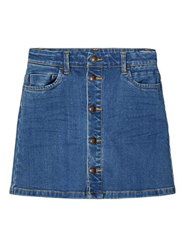 NAME IT Mädchen NKFTECOS DNM 3397 A-Shape Skirt NOOS Rock, Dark Blue Denim, 128