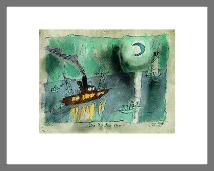 Lyonel Feininger Once in a Blue Moon Poster Kunstdruck Bild im Alu Rahmen in Champagne 40x50cm