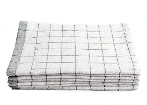 Fabresh Dish Towels - Super Absorbent Quick-Drying Microfiber Cotton Blend Kitchen Hand Towels for Cleaning Scrubbing Washing and Drying - 23in x 16in Green Set of 5