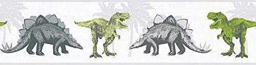 A.S. Création Bordüre Little Stars Borte mit Dinosauriern 5,00 m x 0,13 m grau grün weiß Made in Germany 358361 35836-1