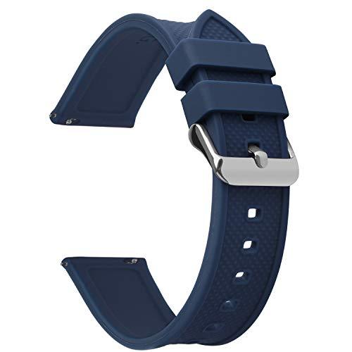 Fullmosa Quick Release Watch Band 22mm,Silicone Rubber watch band Bracelet for Samsung Gear S3 Classic/Frontier/Galaxy Watch (46mm),Huawei Watch 2,Moto 360 2nd Gen 46mm,Garmin Watch,Dark Blue