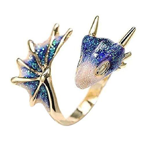 BTOSEP Bagues pour femmes, bague Topaz Dragon bague ouverte Dragon gothique réglable, bague en laiton plaqué or pour femmes hommes, bijoux dun style unique (Blue)