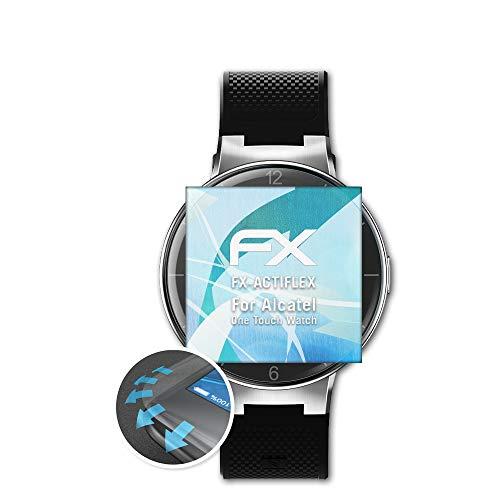 atFoliX Película Protectora Apto para Alcatel One Touch Watch Protector Película, Ultra Claro y Flexible FX Lámina Protectora de Pantalla (3X)