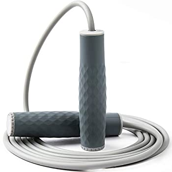 Weighted Jump Rope Workout-1LB Professional Skipping Rope with Adjustable Length&Silicone Comfortable Grips,Heavy Jumpropes Adults Fitness Women Men Kids,Cardio Boxing Endurance Training Exercise-Gray