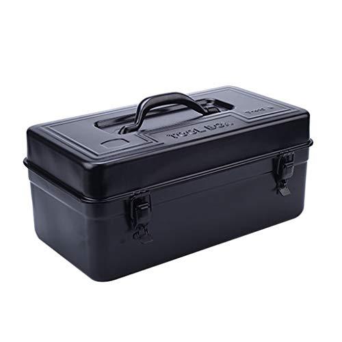 Caja de herramientas Caja de herramientas de metal grueso, Caja de herramientas de hardware for el hogar Caja de almacenamiento portátil, Tamaños múltiples Black Negro brillante) Maletín de Herramient