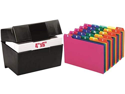 "1InTheOffice Index Card Box 4"" x 6"", Index Card Holder 4x6 400 Capacity & Index Card Guide Set, A-Z, 1/5 Tab,"