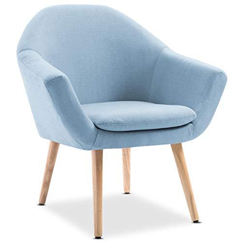 Mc Haus NAVIAN - Sillón Nórdico Escandinavo, butaca comedor salón dormitorio, sillón acolchado con Reposabrazos y patas de madera, Azul, 47x74x76 cm