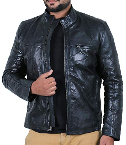 Laverapelle Men's Patch Works Genuine Lambskin Leather Jacket (Black, Small, Polyester Lining) - 1901135
