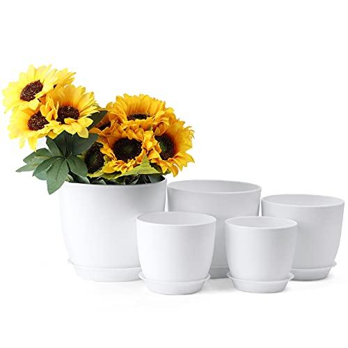 House Plant White Plastic Planter Set, GARSUM Minimalist Modern with Tray and Drainage Holes,...