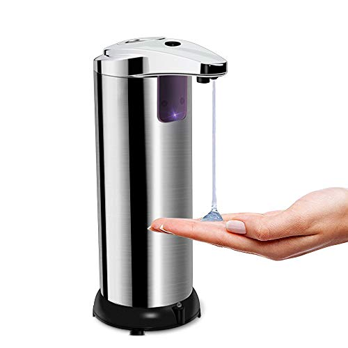opamoo Dispenser di Sapone Automatico, Dispenser Sapone Touchless Distributore di Sapone Acciaio Inox Dispenser Sapone Liquido con Sensore a Infrarossi e Base Impermeabile per Cucina Bagno