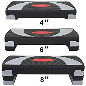 """HomGarden 31"""" Adjustable Workout Aerobic Stepper in Fitness & Exercise Step Platform Trainer Stepper w/Risers Adjust 4"""" - 6"""" - 8"""" (Set of 1)"""