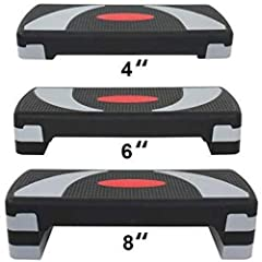 """【31"""" Adjustable Aerobic Stepper】Our exercise stepper will help you work on your coordination as you improve your cardiovascular fitness. 3 different settings for more strenuous exercise,such weight loss, muscle-building and toning 【High-Denisty ABS M..."""