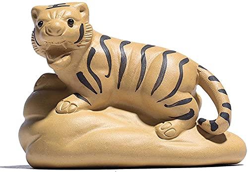 WSJF Abstrakcyjna unikalna statuetka rzeźba kreatywne akcesoria do dekoracji domu fioletowa glina tygrys ręcznie robiona rzeźba kreatywne statuetki zwierząt herbata zwierzę domowe dekoracja