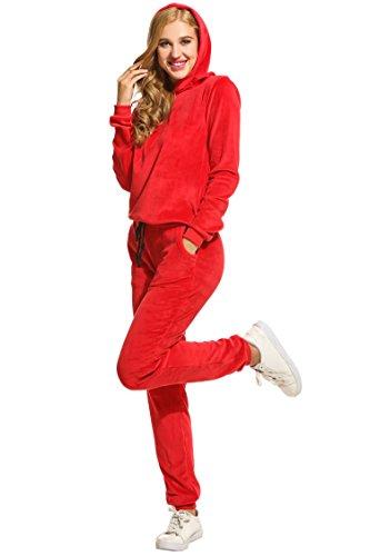 Hotouch Women's Tracksuit Set Velour Sweatsuit Warm Up Set Red XXXL