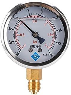 AKDSteel Compound Pressure Vacuum Gauge Glycerine Filled 63mm -1-2bar-30-30inhg/psi 1/4 BSP Bottom Practical Tool Accessories