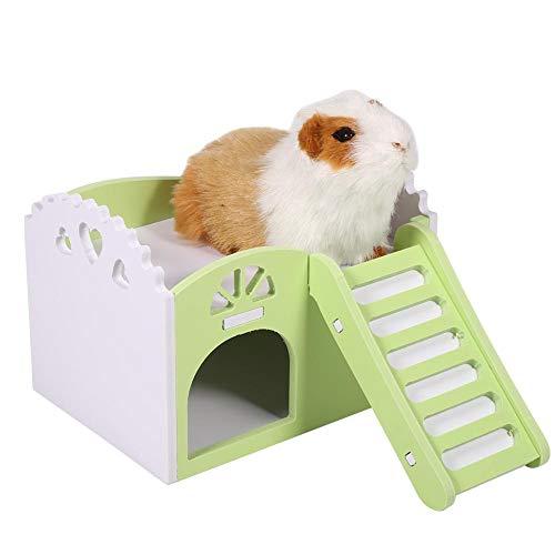 HEEPDD 3Colors De Madera de Dos Pisos Casa Hamster con Escalera Mascotas Casa Ocio Juguetes de Ejercicio para Ardillas Gerbils Hamsters Golden Bears Pequeños Animales (Green)