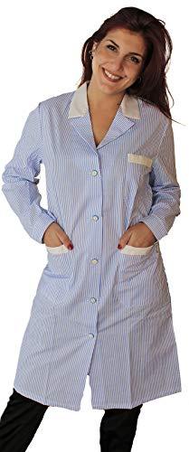 Petersabitidalavoro Camici da Lavoro Donna Manica Lunga Imprese di Pulizia Operaia Domestica Cameriera AI Piani (L=50-52, RIGO Azzurro)