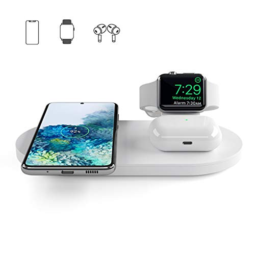Seacosmo Caricatore Wireless 3 in 1 per Apple Watch 5/4/3/2/1, Qi Supporto di Ricarica Wireless Docking Station per AirPods Samsung Buds, iPhone SE...