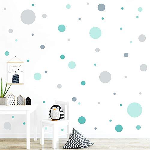 malango® 78 Wandsticker in vielen verschiedenen Farbkombinationen Punkte Kinderzimmer Wandtattoo Kreise selbstklebend Mint-türkis-hellgrau-blaugrau