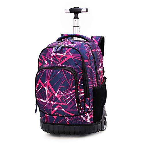 BAACD Rollrucksack für Jungen Mädchen Teenager, Wasserdichter Rucksack mit Rollen Trolley Schultaschen Kinder Bookbags Rollrucksack für die Mittelschule (7-16 Jahre) purple1