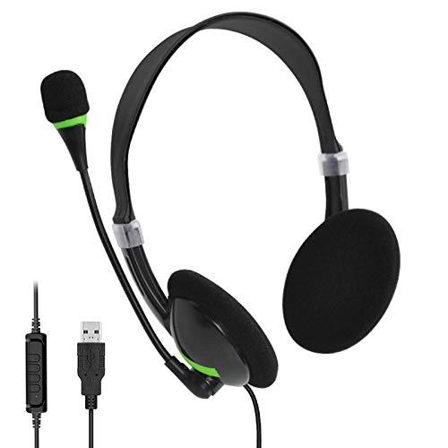 XOYZUU Auriculares, auriculares USB con micrófono ajustable con cancelación de ruido para PC portátil, centro de llamadas de negocios oficina