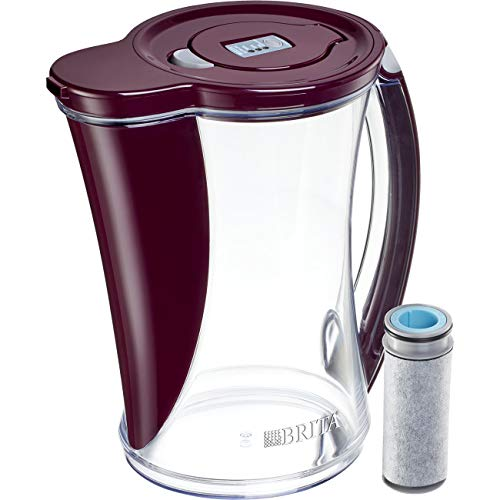 Brita Stream Filter as You Pour Water Pitcher, 12 Cup, Bordeaux