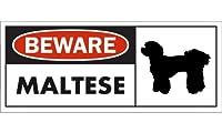 BEWARE MALTESE ワイドマグネットサイン:マルチーズ(ショートヘアー) Mサイズ