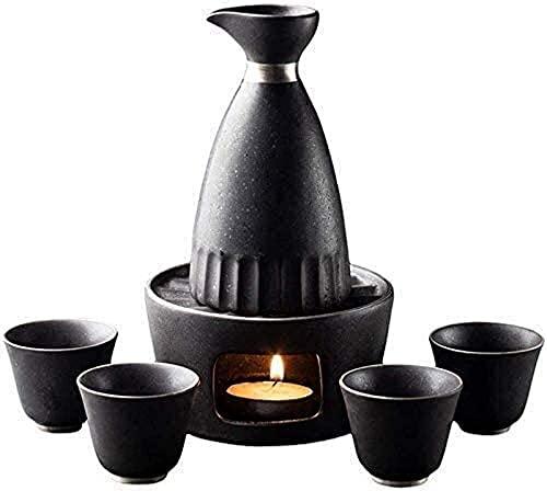 JJDSN Juego de Sake de 6 Piezas de Estilo japonés, Juego de Sake de Plata chapada en Esmalte Negro, Copas de Vino de cerámica con Estufa de Vela, para frío/Caliente/Shochu/té 2124