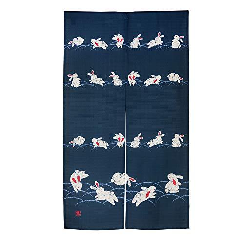 KWOS Cortina de puerta noren japonesa tipo largo noren cortinas de poliéster para dormitorio, cocina, restaurantes, 85 x 149 cm, muchos conejos, azul marino
