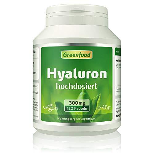 Hyaluron, 300 mg reines Hyaluron (!), extra hochdosiert, vegan, 120 Kapseln – OHNE künstliche Zusätze. Ohne Gentechnik. Vegan.