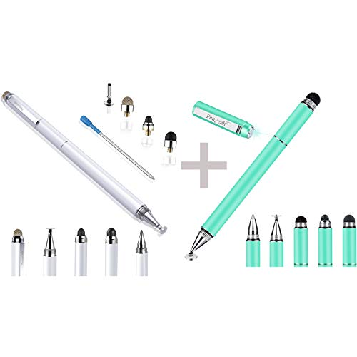 Penyeah 4-in-1 Multi Tips White Stylus Pens for Touch Screens Bundle with Blueish Green Diamond 4-in-1 Flocked Fiber Tip Multi Tips Stylus