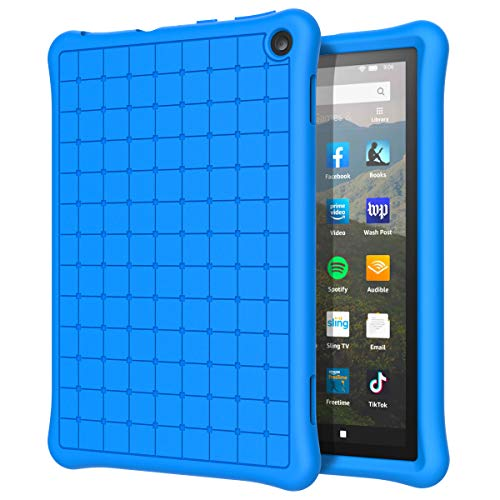 MoKo Kids Case Fits All-New Kindle Fire HD 8 Tablet and Fire HD 8 Plus Tablet (10th Generation, 2020 Release) Case, Flexible Soft Silicone Back Cover Impact-Resistant Shell - Blue