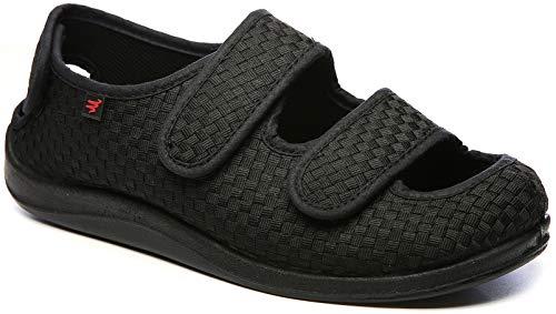 YURUMA Hombres Mujer X-Ancho Ajustable Zapatos Turgente Pies Pantufla, Anciano Velcr Cómodo Sandalia, Diabético Obesidad Zapatillas 36-51 (C/Negro (Verano), 37/US 7.5 Mujer/UK 4)