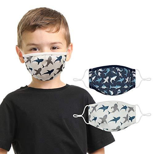 "Shark Face Mask for Kids (2 Pack) Ages 6-14 Cool Boys Face Mask Design   3 Layers, Washable, Reusable, Adjustable Nose Wire, Ear Loops with Filter Pocket   Bonus: Zipper Storage Bag: 72"" Atalpha"
