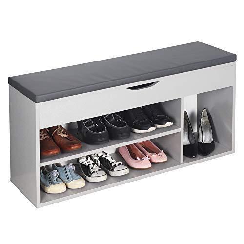 RICOO WM034-PL-A Banco Zapatero 104x49x30cm Armario Interior con Asiento Organizador Zapatos Mueble recibidor Perchero Madera Color Gris Platino