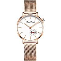 Women's Rose Gold Mesh Bracelet Thin Minimalist Quartz Wrist Watch