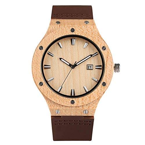 Yxxc Reloj de Madera de Cuarzo Hecho a Mano para Hombres, Relojes de Madera de sándalo Rojo Natural con Calendario para Ancianos, Reloj de Pulsera de Madera de Manos con Esfera Luminosa
