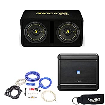 Alpine MRV-M500 Amplifier and a Kicker DCWC102 Dual CompC 10  Subwoofers in Ported Enclosure 2-Ohm - Includes Wire kit