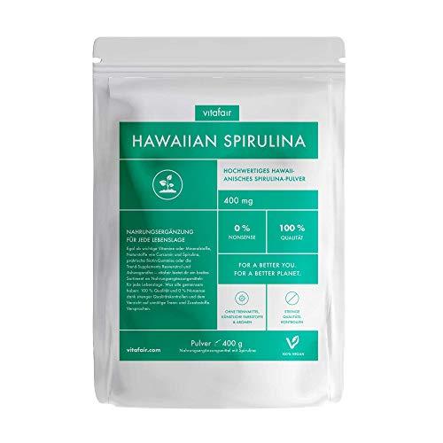VITAFAIR Hawaiian Spirulina 400g Pulver - Vegan, Ohne Zusatzstoffe, German Quality - Nahrungsergänzungsmittel mit Antioxidantien, Vitaminen und Proteinen