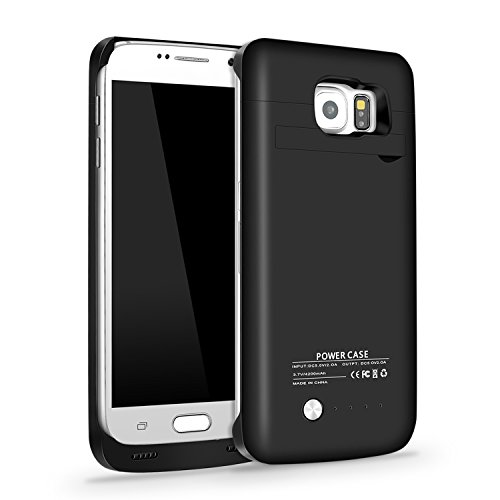 RUXELY Galaxy S6 Battery Case, Galaxy S6 4200mAh Portable External Backup Charging Pack, Rechargeable Impact-Resistant Power Charger Case Compatible with Samsung Galaxy S6(Black)