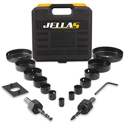 19Pcs Coronas Perforadoras -JELLAS 19-127mm Broca Corona Juego(Include 25 and 38mm) en Caja Rígida, Resistentes para Perforar de Forma Precisa en Madera Blanda, Tableros de PVC y Plástico