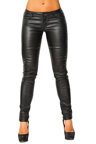 Damen Bootcut Kunstlederhose (337), Grösse:38 M;Farbe:Schwarz