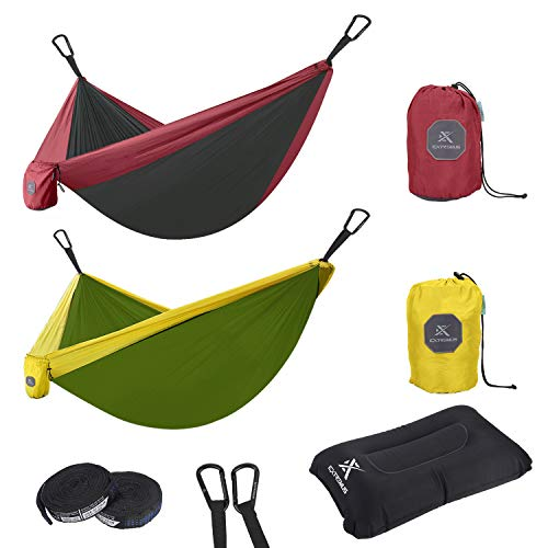 Extremus Double Body Sling Camping Hammock, Red/Charcoal, 10'x 6.6'