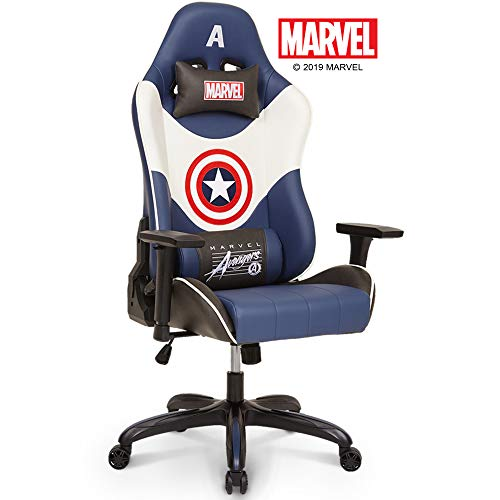 Marvel Avengers Captain America Big & Wide Heavy Duty 400 lbs Gaming Chair Office Chair Computer Racing Desk Chair Blue White - Endgame & Infinity War Series, Marvel Legends blue chair gaming