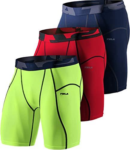 TSLA Herren Dri Fit Kompressionsunterwäsche Aktive Workout Sport-Shorts, Mus73 3pack - Navy/Neon Yellow/Red, 3XL
