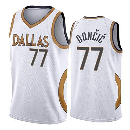ZCGS Jersey de Baloncesto Doncic Mavericks 77# Jersey, 2021 Nueva edición Camiseta de Baloncesto Unisex Swingman Fan Sports Top (S-XXL) White-S