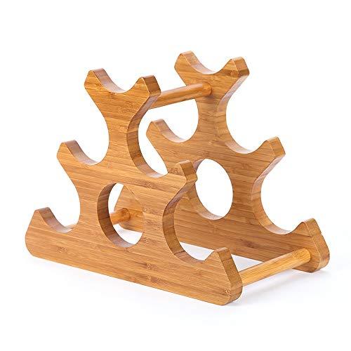 GUOQING Freestanding Solid Wood Bamboo Wine Rack 25.5cmx35mx18cm para almacenar Vino o como decoración Mueble botellero de pie